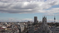 4K Timelapse cloud pass Cybele Palace traffic street Madrid city center emblem  Stock Footage