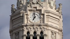 4K Timelapse time pass decorative clock motion Cybele Palace Madrid building day Stock Footage