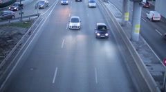 View of the road traffic from the bridge Stock Footage