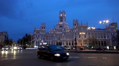 4K Timelapse car transportation downtown Madrid Cybele Palace building twilight  Stock Footage