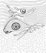 Surreal hand drawing whale and fish, abstract template with black outlines Stock Illustration