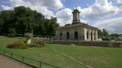 Building with tower in the Italian Gardens in London Stock Footage