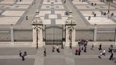 4K Timelapse pedestrian people visit Royal Palace yard gate Madrid landmark day  Stock Footage
