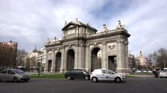 4K Timelapse traffic car Alcala Gate commuter transportation Madrid city center  Stock Footage