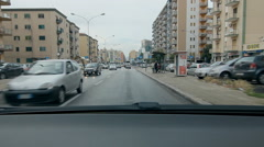 Driving on Via Oreto with apartments in Palermo, Sicily. Stock Footage