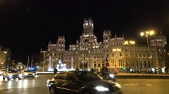 4K Traffic car Cybele Palace Alcala Gate Madrid famous downtown landmark night   Stock Footage