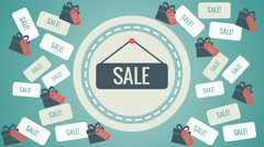 a lot of labels and boxes,sale sign, - stock footage