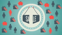 a big sign on the sale,signs in order to save money - stock footage