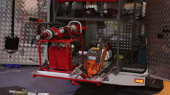 Fire-fighter equipment in car Stock Footage