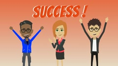 Three people enjoyed his success and raised his hand - stock footage