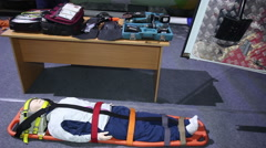 rescue equipment stretcher - stock footage