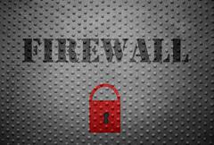 Firewall and lock - stock photo