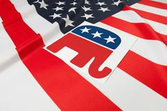 Ruffled flag series - flag of United States of America with republican party  Stock Illustration