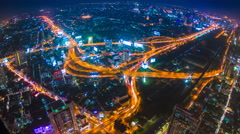 Time Lapse Night Cityscape Of Bangkok City, Thailand - stock footage