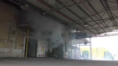 Toxic corrosive hazardous material Ammonia gas comes out from leaking container  Stock Footage