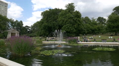 Birds chasing one another on the lake in the Italian Gardens, London Stock Footage