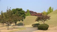 Royal tumuli at the Gyeongju Historic Area. South Korea. Stock Footage