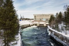 Hydroelectric power plant in the north of Russia Stock Photos