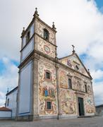 Hand-painted panels of traditional Portuguese tiles Stock Photos