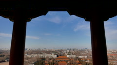 Overlooking Beijing  forbidden city from Jingshan Park Stock Footage