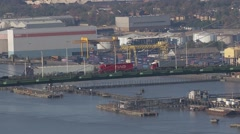 Bridge QE2 Crossing River Thames Wide Shot from Helicopter - stock footage
