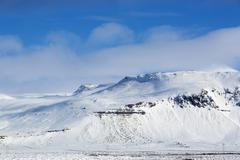 Snowy mountain landscape, Iceland - stock photo
