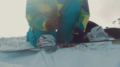 snowboarder snowboarding clothes - stock footage