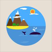 Flat picture sea holiday tourism icon Stock Illustration