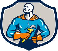 Plumber Superhero Monkey Wrench Crest Retro Stock Illustration