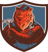 Russian Bear Builder Handyman Crest Woodcut Stock Illustration