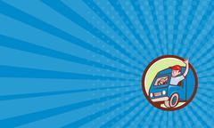 Stock Illustration of Business card Delivery Man Waving Driving Van Circle Cartoon