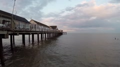 Aerial footage of English seaside town Southwold UK at sunset Stock Footage