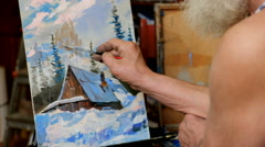The wise old painter Stock Footage