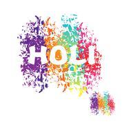 Holi celebration. Color stain from brush. Logo for Indian Holi holiday Stock Illustration