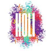 Stock Illustration of Holi celebration. Color stain from brush. Logo for Indian Holi holiday