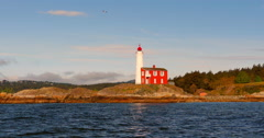 4K Fisgard Lighthouse at Fort Rodd Hill, Victoria, Vancouver Island, BC Canada Stock Footage