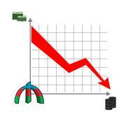 Azerbaijani manat money falls. Falling of rate of manat. Red down arrow. Redu - stock illustration