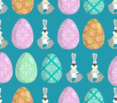 Happy Easter. Easter seamless pattern. Traditional eggs. Rabbit ornament. Fes - stock illustration
