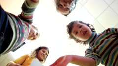 Children top friendly waving palms to the camera happy baby group. Stock Footage