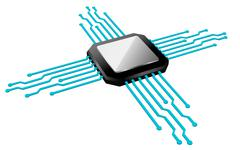 Chip, Circuit, Microchip, Computers, Technology Stock Illustration
