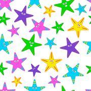 vector seamless pattern with starfish - stock illustration
