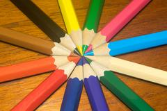 Colored pencils or crayons on circle. Stock Photos