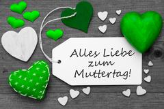 Black And White Label, Green Hearts, Muttertag Means Mothers Day Stock Photos