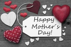 Black And White Label, Red Hearts, Text Happy Mothers Day - stock photo