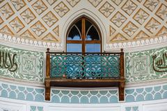 Balcony in the Arab style in the terrace of Vorontsov Palace in Alupka Stock Photos