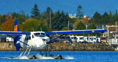4K Harbour Hydroplane, Vancouver and Victoria Harbor, Aircraft Stock Footage
