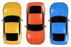 Isolated Cars Aerial 3D Illustration. Cars From Above. Stock Illustration