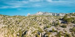 Panorama Of Nature Of Calanques On Azure Coast Of France. High C Stock Photos