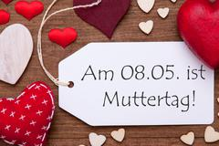 One Label, Red Hearts, Muttertag Mean Mothers Day, Macro Stock Photos