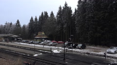 4k Small forest station in snowy winter mountain range Harz Stock Footage